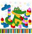 crocodile construction plastic block vector image