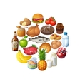 Circle of food stuff isolated on white background vector image