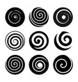 set of spiral motion elements black isolated vector image