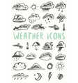 Set weather icons drawn style vector image