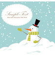 Snowman card blue vector image