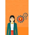 Woman with bulb and gears vector image