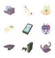Fantasy games icons set cartoon style vector image