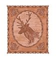 Deer and oak leaves and acorns woodcarving vector image