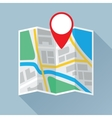 Folding Paper Map with Location Mark Flat Icon vector image