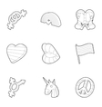 Same-sex love icons set outline style vector image