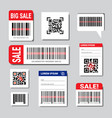 set of bar and qr codes stickers with sale text vector image