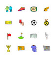 soccer icons set cartoon vector image