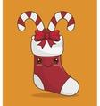 socks christmas and canes icon vector image