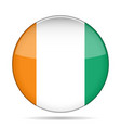 Flag of Ivory Coast Shiny round button vector image