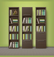 brown wooden bookcases vector image