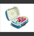 open suitcase with clothes vector image vector image