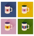 Set of flat icons with long shadow cup heart vector image