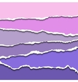 Colorful violet set of torn paper banners for vector image