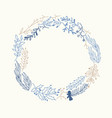 blue and beige foliate wreath doodle vector image