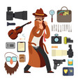 cartoon surveillance detectives with equipment vector image