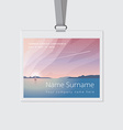 Conference name tag mockup template with summer vector image