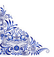 corner blue pattern with birds and flowers in the vector image