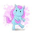 cute cartoon cheerful blau horse pony vector image