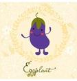 Cute eggplant character vector image