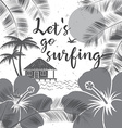 Lets go surfing design Summer surfing retro banner vector image
