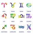 Zodiac icons horoscope set on white background vector image