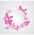 Abstract round banner with butterflie vector image