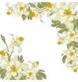 Frame with white blooming flowers vector image