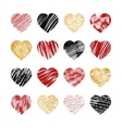 hand drawn heart icons for valentines and vector image