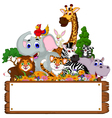 funny animal cartoon collection with blank board vector image vector image