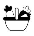 contour supermarket basket with carrots vegetables vector image