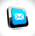 mail 3d square button vector image