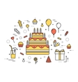 Thin line happy birthday party modern vector image