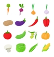 Vegetables icons set cartoon style vector image