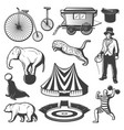 vintage circus elements collection vector image