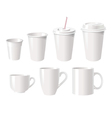 Collection of various white coffee cups vector image