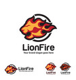 fire lion logo template vector image