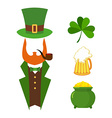 Patricks day set of elements Green clover Mug with vector image