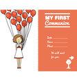 communion invitation card for girl vector image