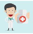 Doctor wearing a medical suit holding drug bottle vector image
