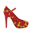 colorful silhouette of high heel shoe with belt vector image