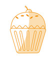 orange silhouette shading cartoon cupcake with vector image