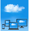 Cloud computing concept All computer devices and vector image vector image