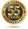 55 years anniversary gold label vector image
