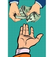 hand giving money vector image