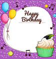 Birthday theme with cupcake vector image