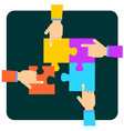 Hands putting multicolor puzzle pieces together vector image