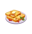 Toasts With Butter Breakfast Food Element Isolated vector image