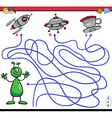 path maze game with alien vector image vector image