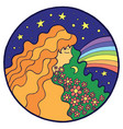 psychedelic hippie girl with flower in hair vector image